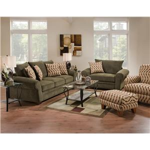 Corinthian 5400  Attractive Accent Chair & Ottoman with Smooth Simplistic Look in Casual Contemporary Style