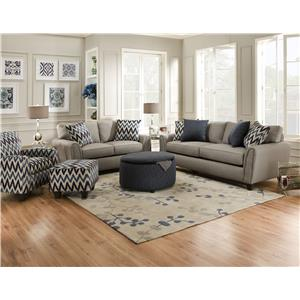 Corinthian 55A0 Casual Contemporary Love Seat with Accent Pillows
