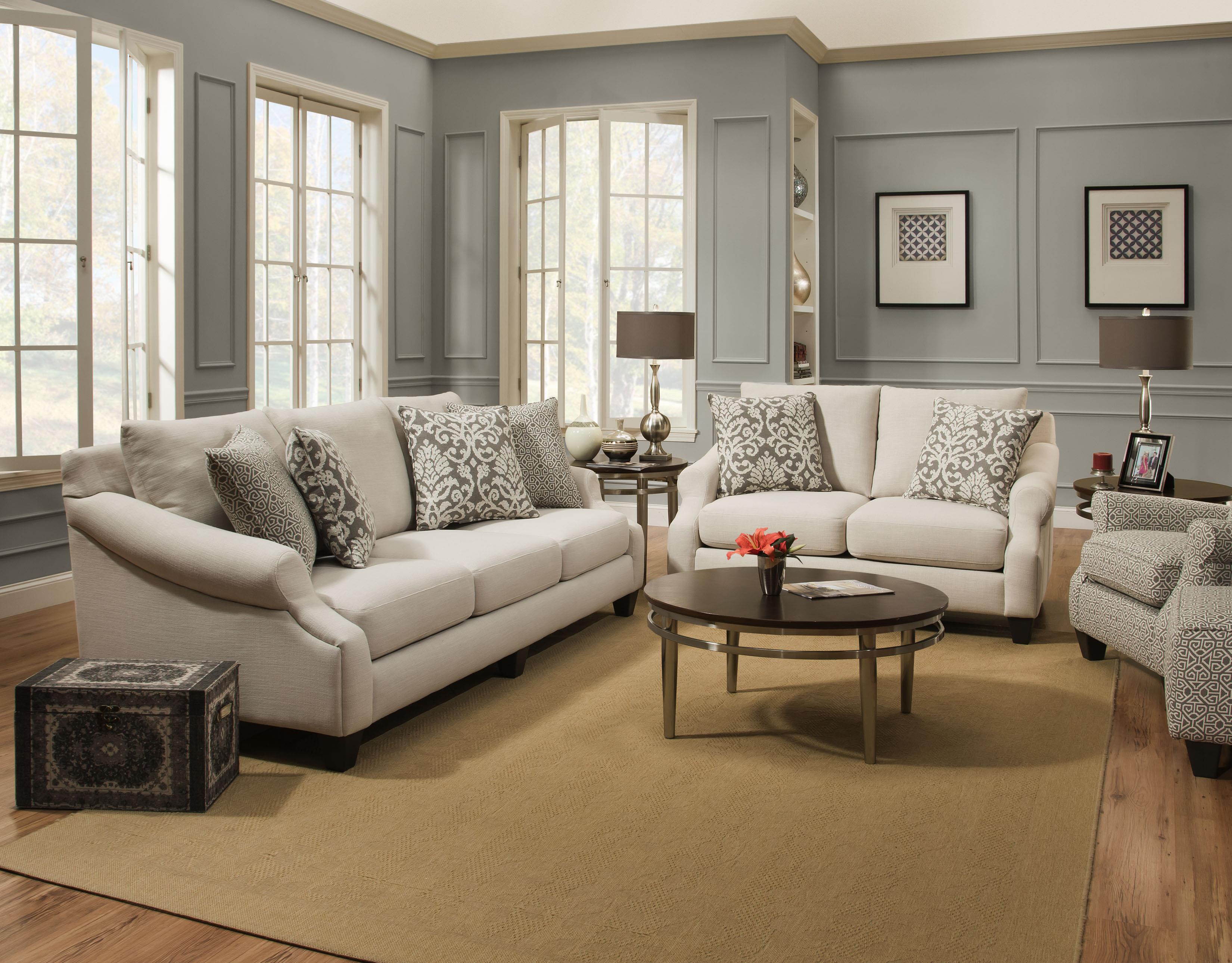 Corinthian 56A0 Lavish Cream Sofa & Loveseat - Item Number: 56A0 Living Room Group 1