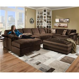 Corinthian 6500 SECT Six Person Sectional Sofa for Contemporary Living Room Displays