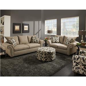 Corinthian 66E0 Sofa with Reversible Seat Cushions and Nail Head Trim
