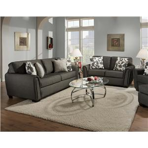 Corinthian 7300 Contemporary Stationary Sofa with Tapered Roll Arms