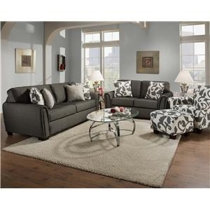 Corinthian 7300 Transitional Styled Accent Ottoman with Wood Feet