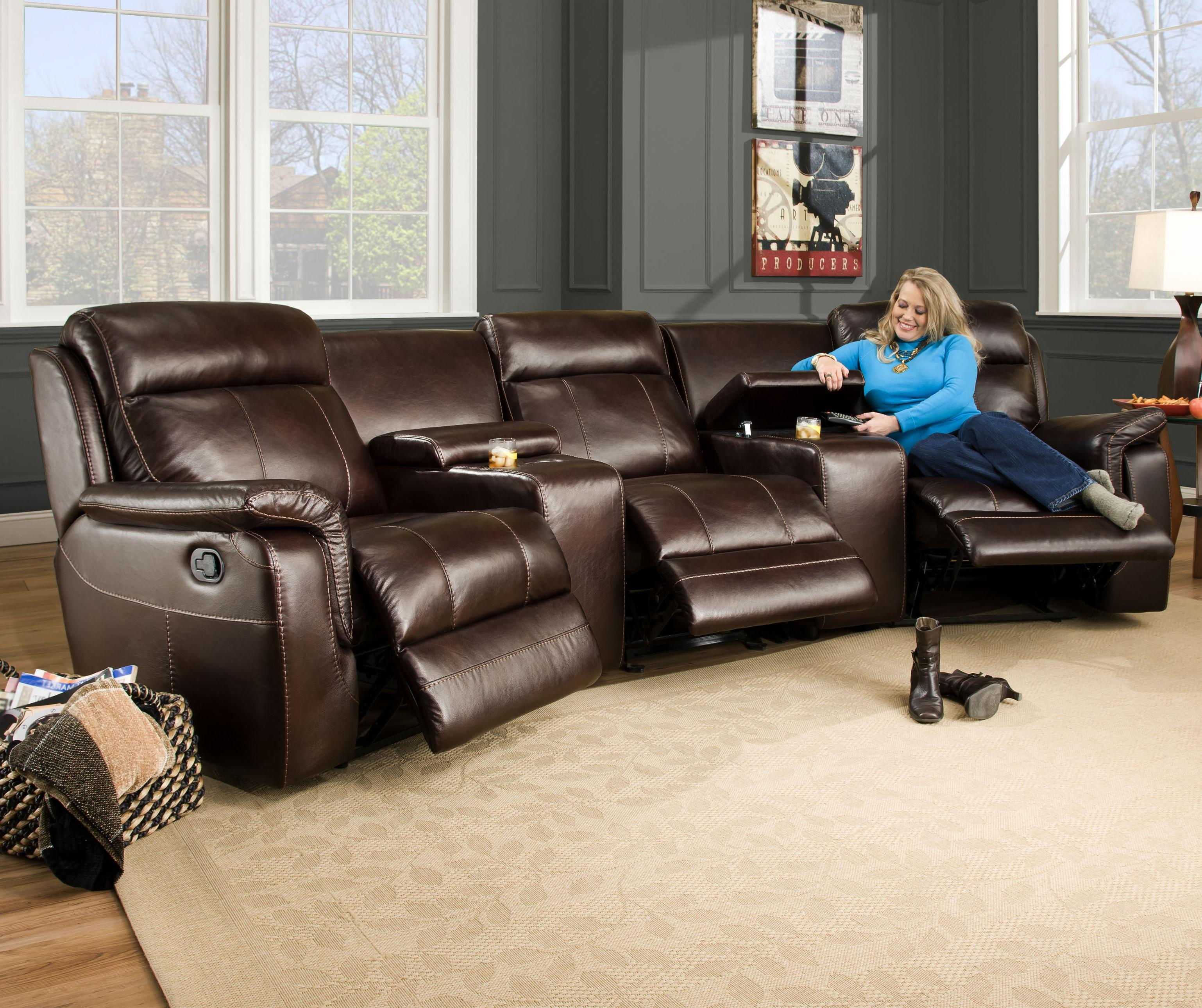 Corinthian 862 Sectional Sofa with 5 Seats (2 are Wall Away Recliners) and 2 Cup Holders - J u0026 J Furniture - Sofa Sectional Mobile Daphne Tillmans Corner ... & Corinthian 862 Sectional Sofa with 5 Seats (2 are Wall Away ... islam-shia.org
