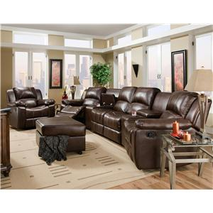 Corinthian Brady Four Seat Reclining Theater Seating with Storage and Cupholders