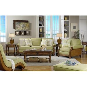 Cozy Life 722950 Casual Sofa with Exposed Wood Carved Details