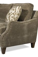 Supremely Stylish Curved Track Arms with Nailhead Trim