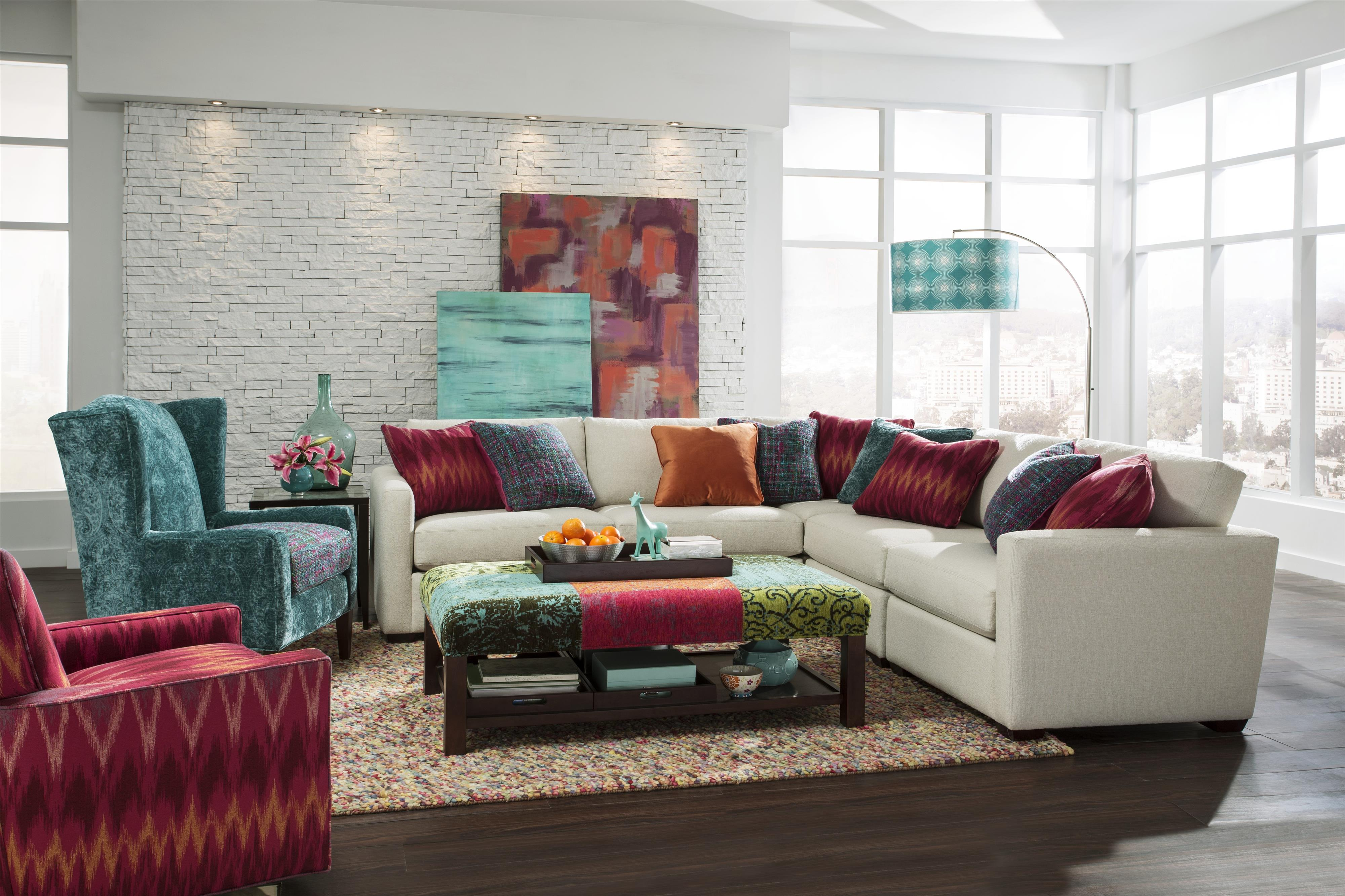 Craftmaster Five Piece Corner Sectional Sofa with Toss