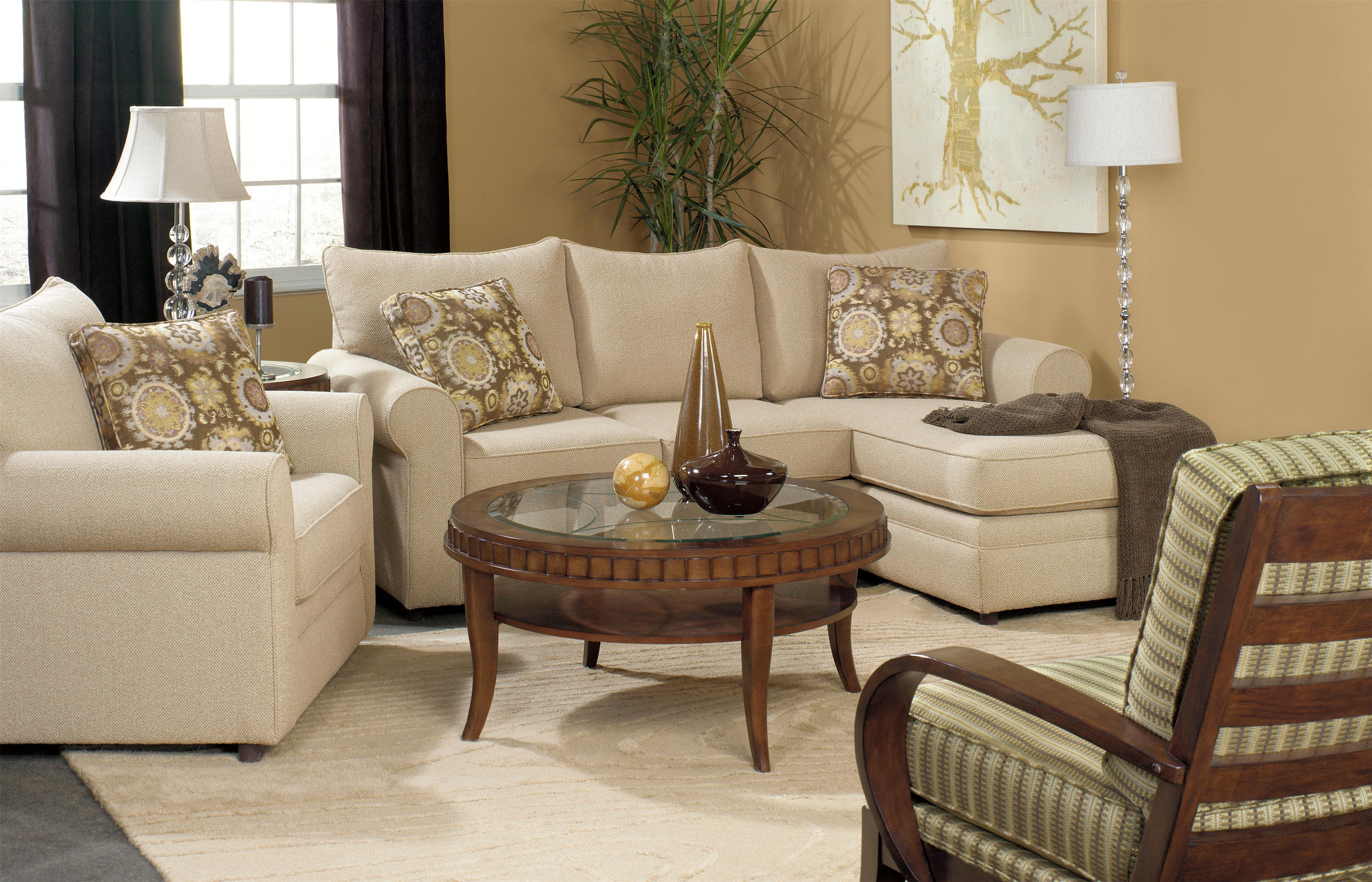 Craftmaster Abbey Casual Sofa with Chaise and Sock Arms Belfort