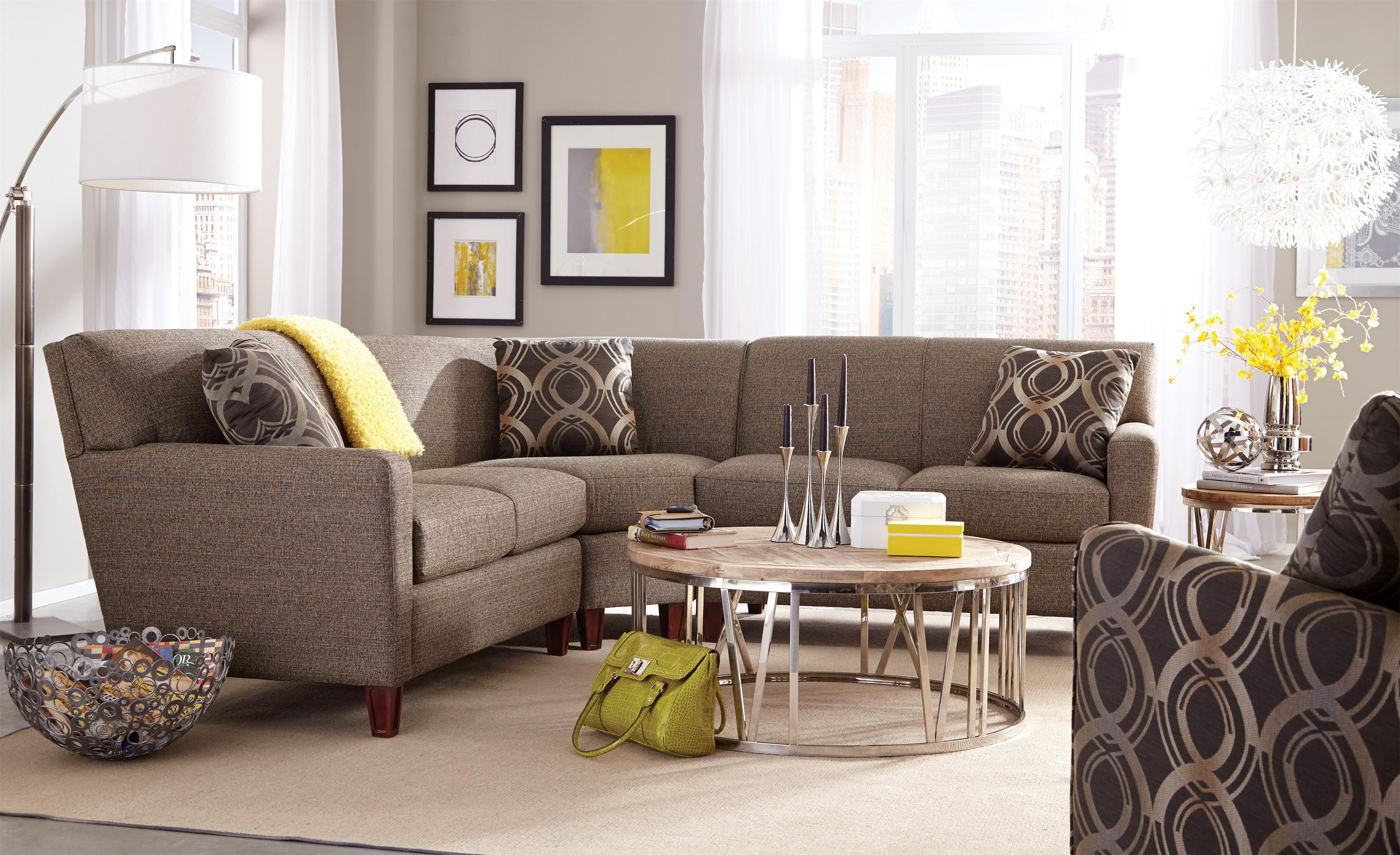 Craftmaster 7864 Three Piece Sectional Sofa with LAF Loveseat
