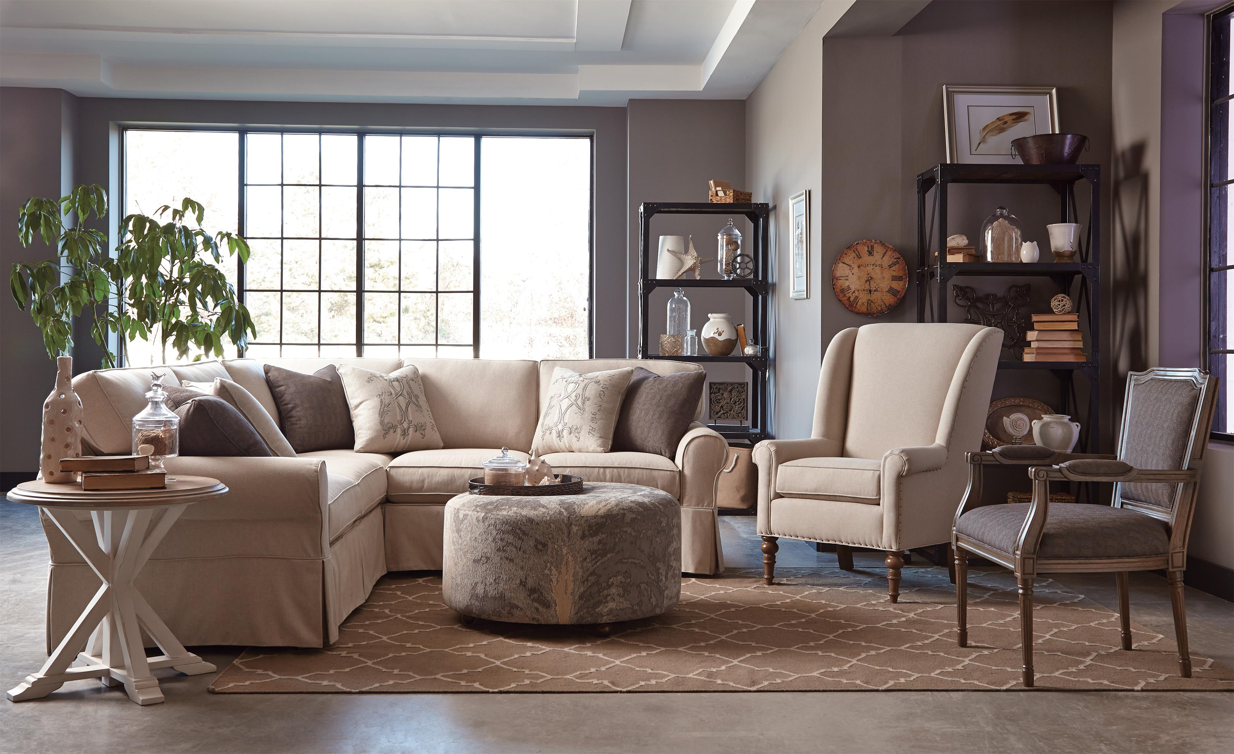 Craftmaster Gabi Cottage Style Slipcover Sofa with Rolled Arms and
