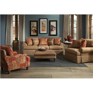Cozy Life 9275 Loose Pillow Back Sofa with Rolled Arms and Skirt