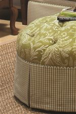 Button-Tufted Detail on Skirted Ottoman