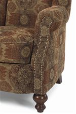 Rolled Arms, Turned Feet, and Nailhead Trim Contribute to Traditional Styling
