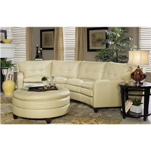 Craftmaster L1348 Contemporary Leather Conversation Sectional with Decorative Topstitching