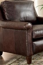 100% Leather with Rolled Arms and Exposed Wood Legs