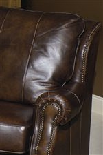 Padded Seat Backs, Rolled Arms and Decorative Nail Heads Add Classic Style