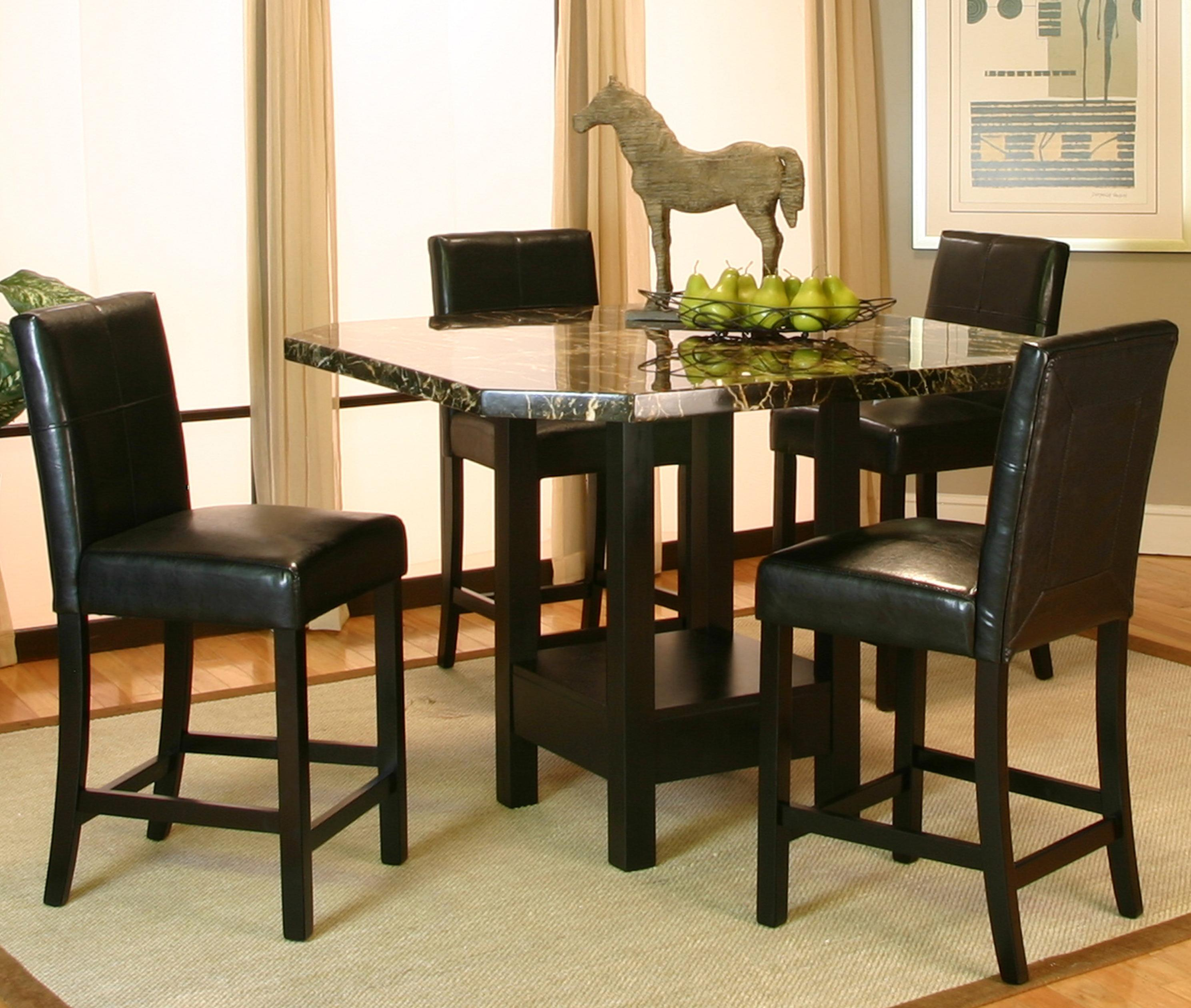 Kitchen pub table and chairs - Cramco Inc Chatham Square Clipped Corner Pub Table W Faux Marble Top Wayside Furniture Pub Table