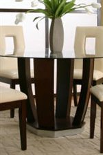 Contemporary Wood Base with Round Beveled Tempered Glass Top