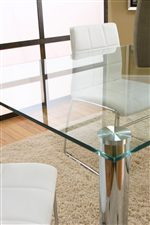 Rectangular Clear Glass Table with Chrome Legs
