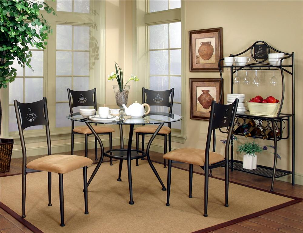 Cramco Inc Cramco Trading Company Maxwell Four Antique Bronze Tan Microsuede Side Chairs With 42 Round Beveled Edge Glass Top Table Bigfurniturewebsite Dining 5 Piece Set