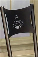 A Cut-Out Coffee Cup Design Gives this Chair and Artistic Touch.