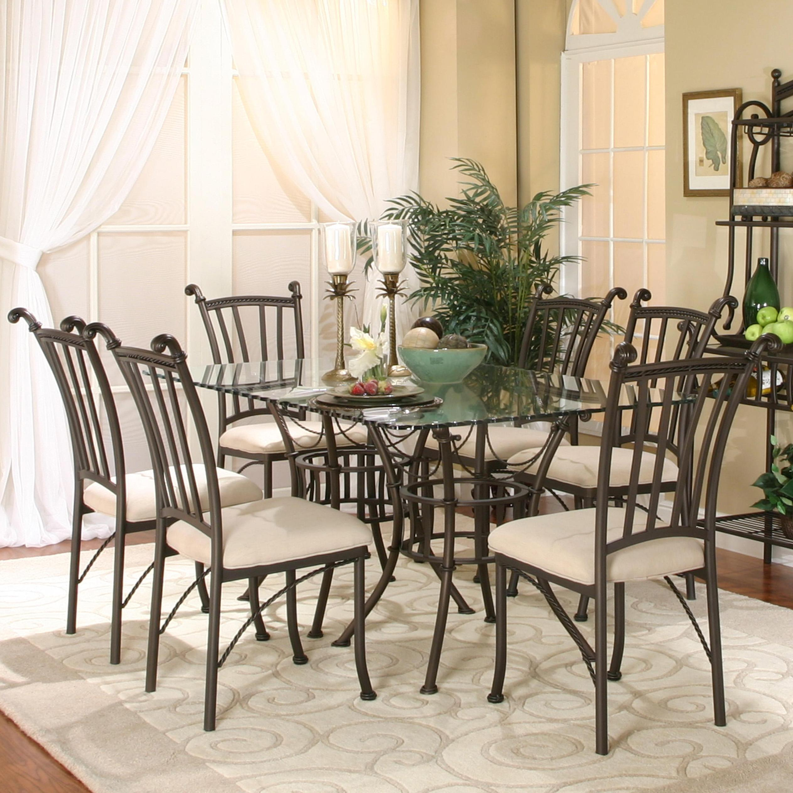 Cramco, Inc Denali 7 Piece Rectangular Glass Table With Chairs   Item  Number: 72095