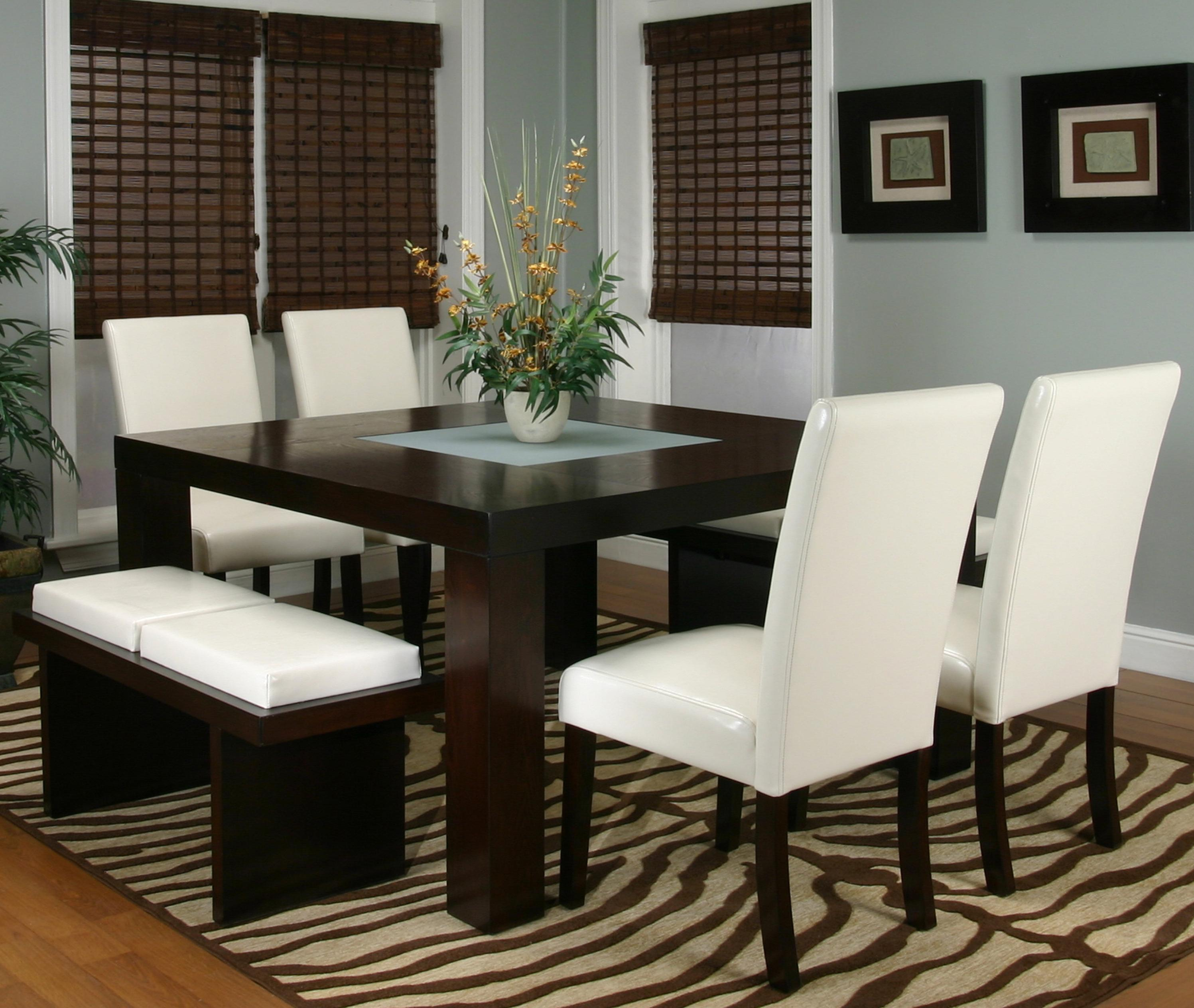 Cramco Inc Contemporary Design Kemper Square Dining Table With - Frosted glass kitchen table