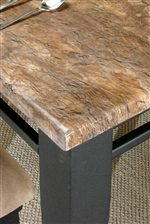 Faux Brown Marble Table Top with Tan and Gray Tones