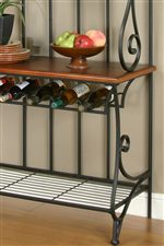 Wine Rack and Oak Veneer Shelf on Baker's Rack