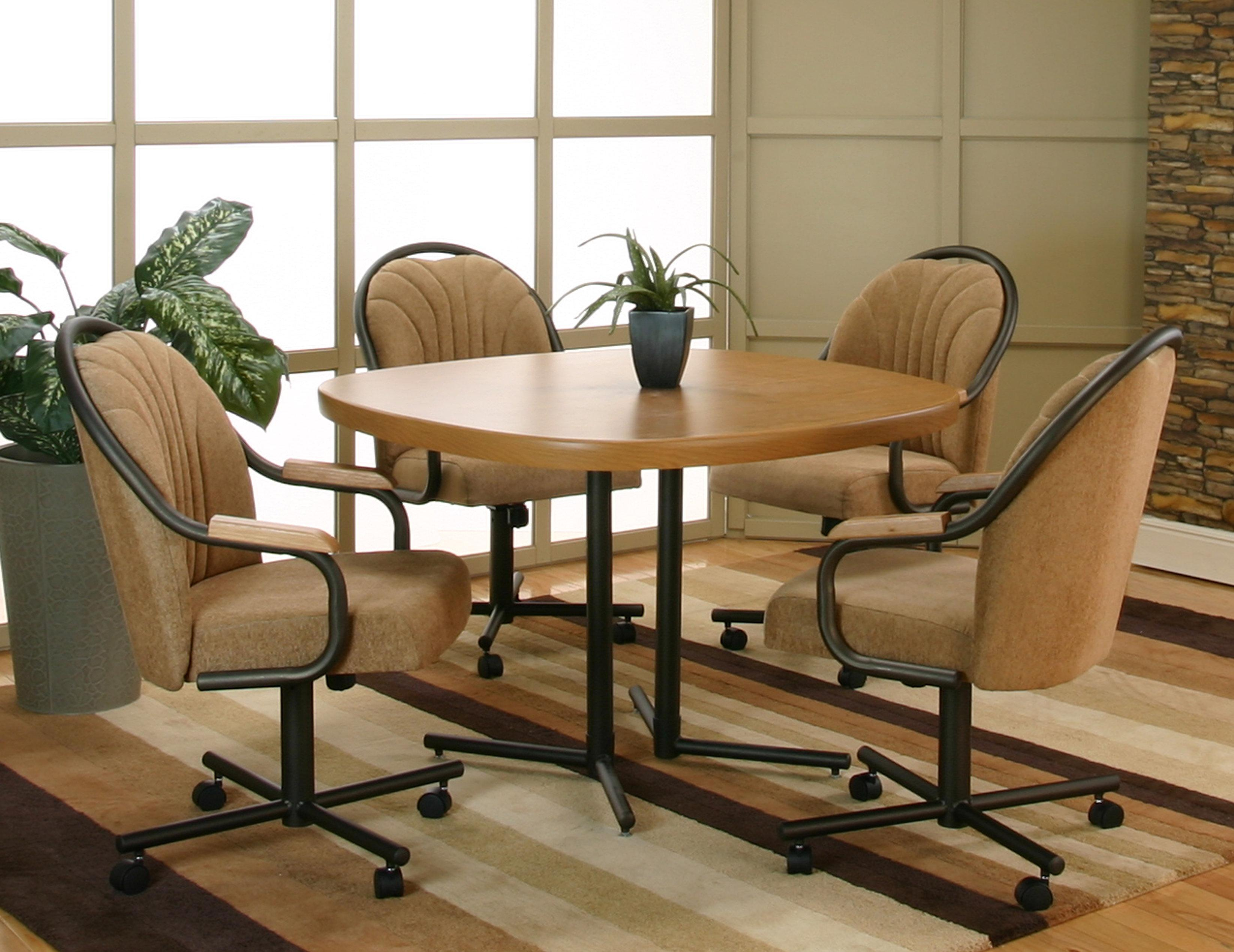 Kitchen sets with swivel chairs - Cramco Inc Shaw Espresso Harvest Chenille Upholstered Dining Arm Chair With Tilt Swivel Base Wayside Furniture Dining Chair With Casters