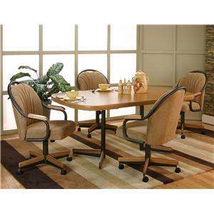 Cramco Inc Shaw Bow End Sunset Oak Laminate Dining Table With 4 Honey Harvest