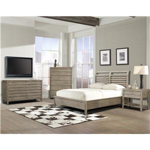Cresent Fine Furniture Corliss Landing King Low Profile Louvered Panel Bed with Storage Rails