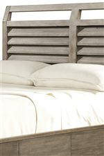 Shutter-Inspired Louvered Headboard Exudes Contemporary Cottage Styling