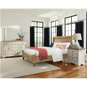 Cresent Fine Furniture Cottage Cal King Natural Storage Sleigh Bed