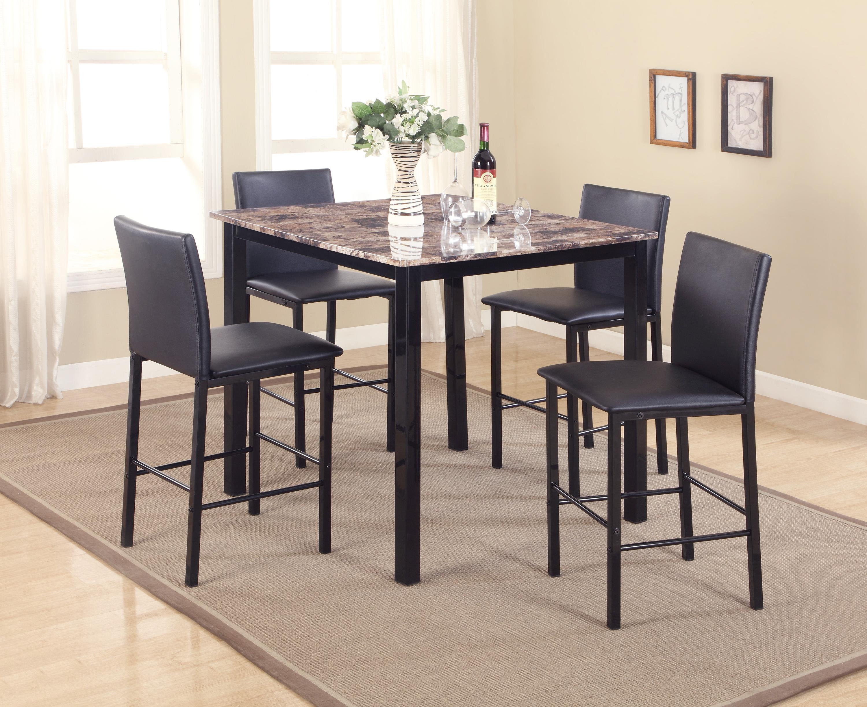 crown mark aiden 5 piece counter height dinette set with faux