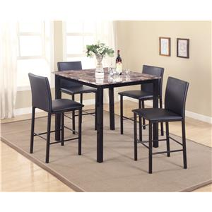 Crown Mark Aiden 5 Piece Counter Height Dinette Set with Faux Granite Table Top