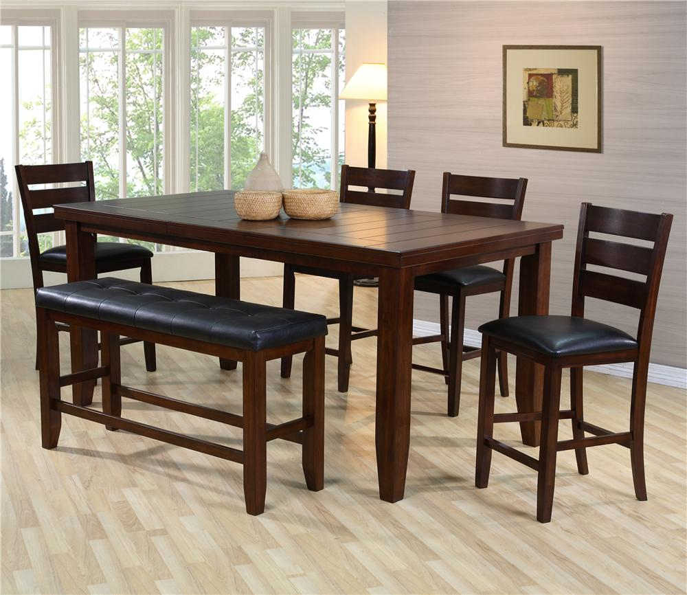 item kitchen table with benches 6 Piece Dining Set w 4 Chairs Bench Bardstown by Crown Mark Wilcox Furniture Table Chair Set with Bench Corpus Christi Kingsville Calallen