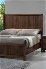 Panel Bed with Rustic Grooved Headboard