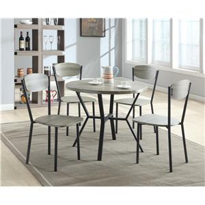 Crown Mark Blake 5 Piece Dining Set with Round Table in Gray Wood Finish
