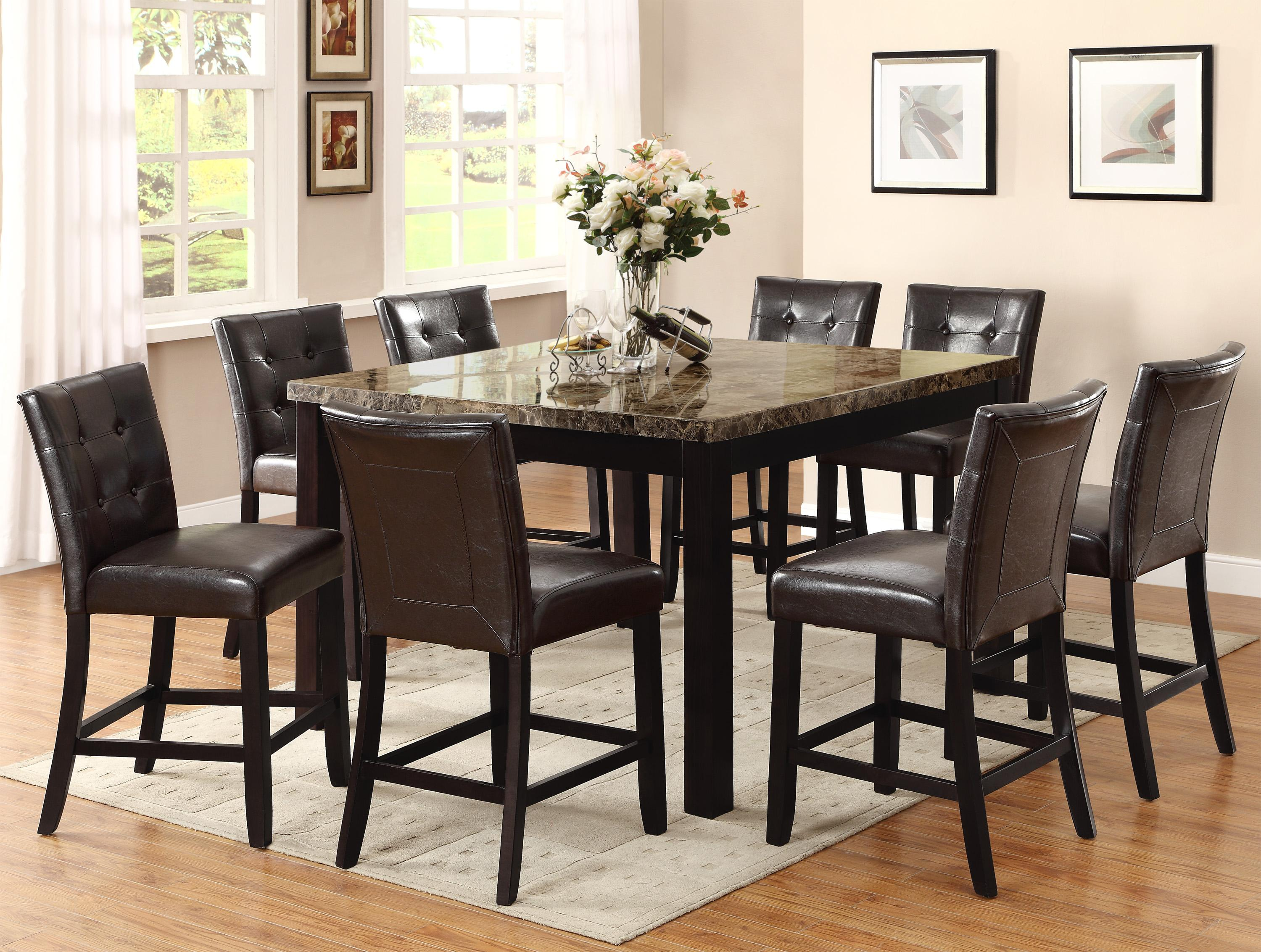 Tall Square Kitchen Table Set Crown Mark Bruce Square Counter Height Table With Faux Marble Top