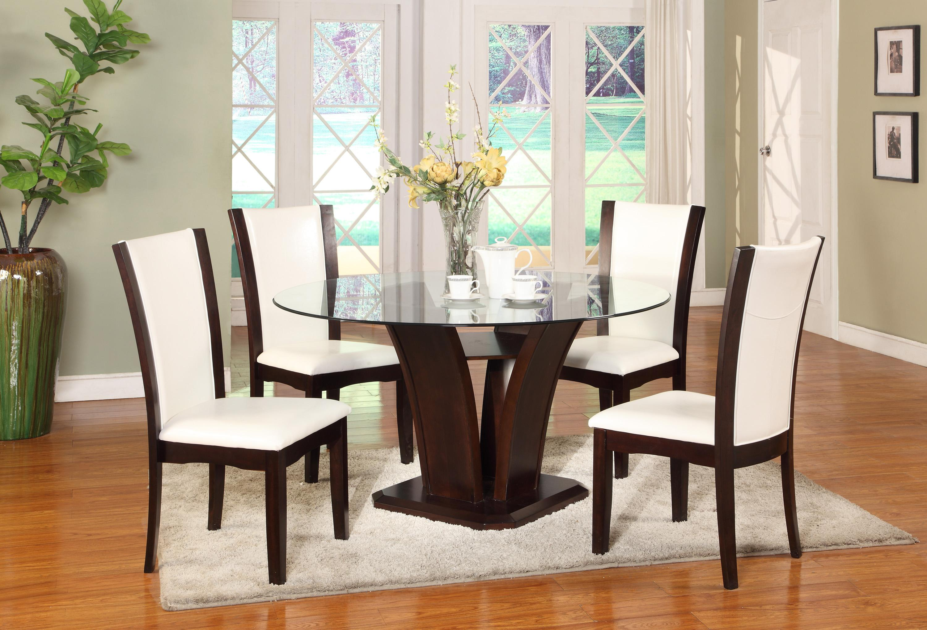 Crown Mark Camelia Espresso Round Glass Top Dining Table With Inverted Base  | Wayside Furniture | Kitchen Tables