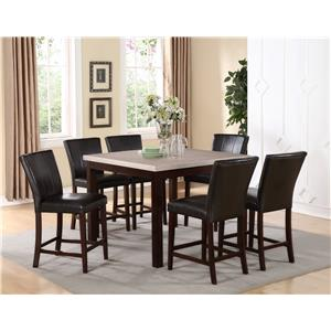 Crown Mark Dominic 7 Piece Counter Height Table and Fully Upholstered Chair Set