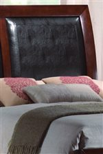 Padded Leather Look Upholstery Shown on Headboard