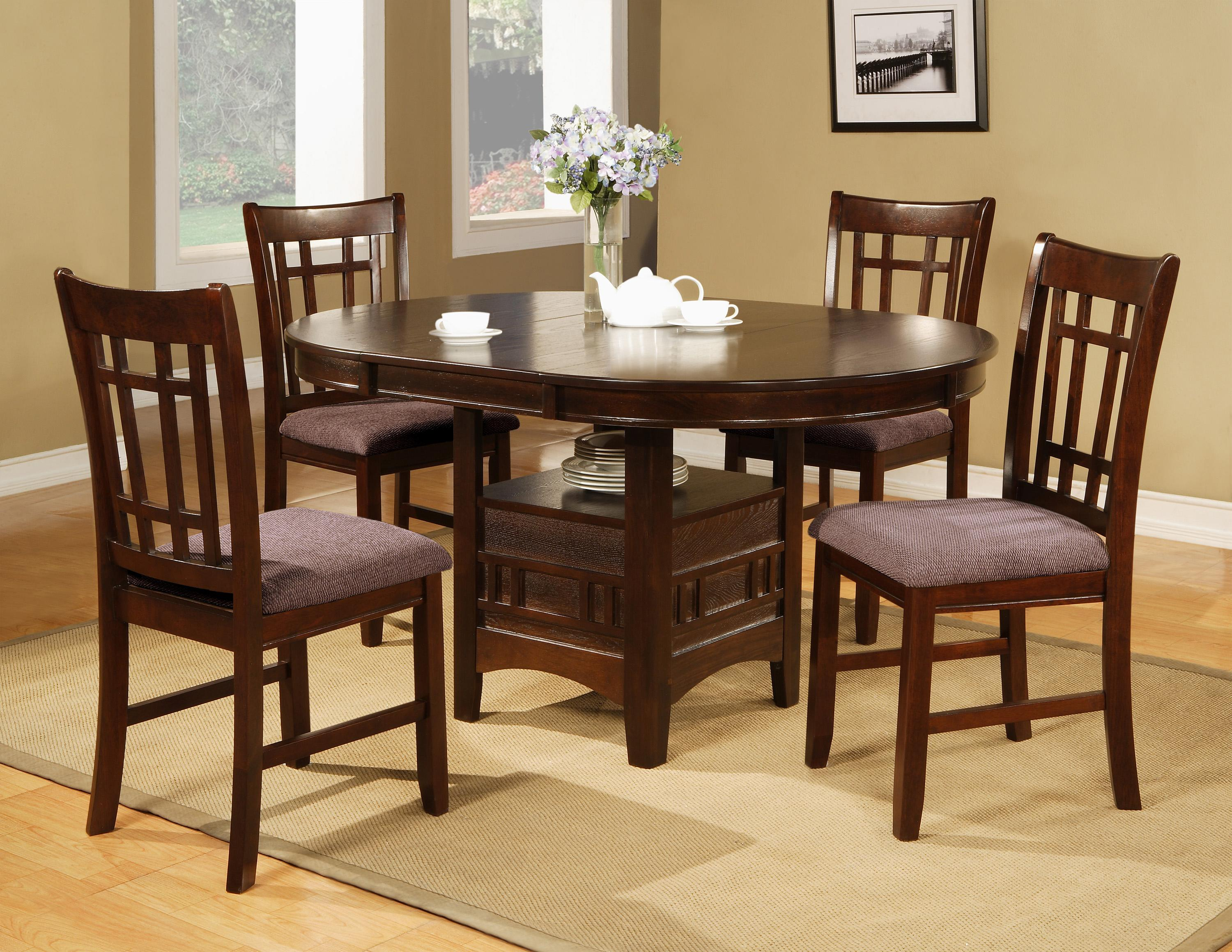 Crown Mark Empire 5 Piece Dining Table With 18 Leaf Chair Set