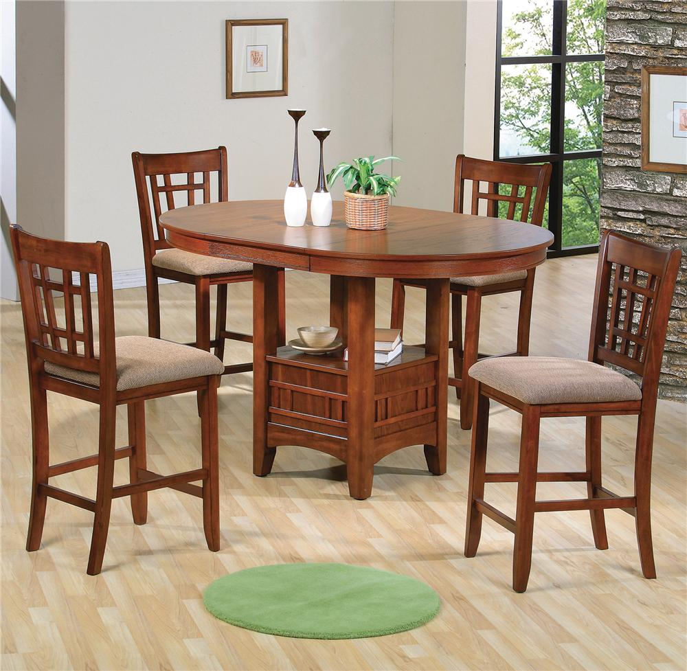 Crown Mark Empire Counter Height Dining Table With Pedestal Base   Lindyu0027s  Furniture Company   Pub Tables
