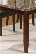 Block Legs with Base Tapering and Faux Stone Table Tops