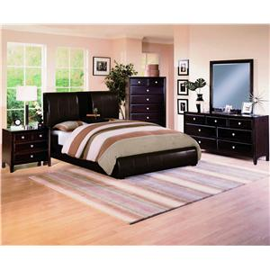 Crown Mark Flynn Queen Upholstered Platform Bed with Center Storage Drop