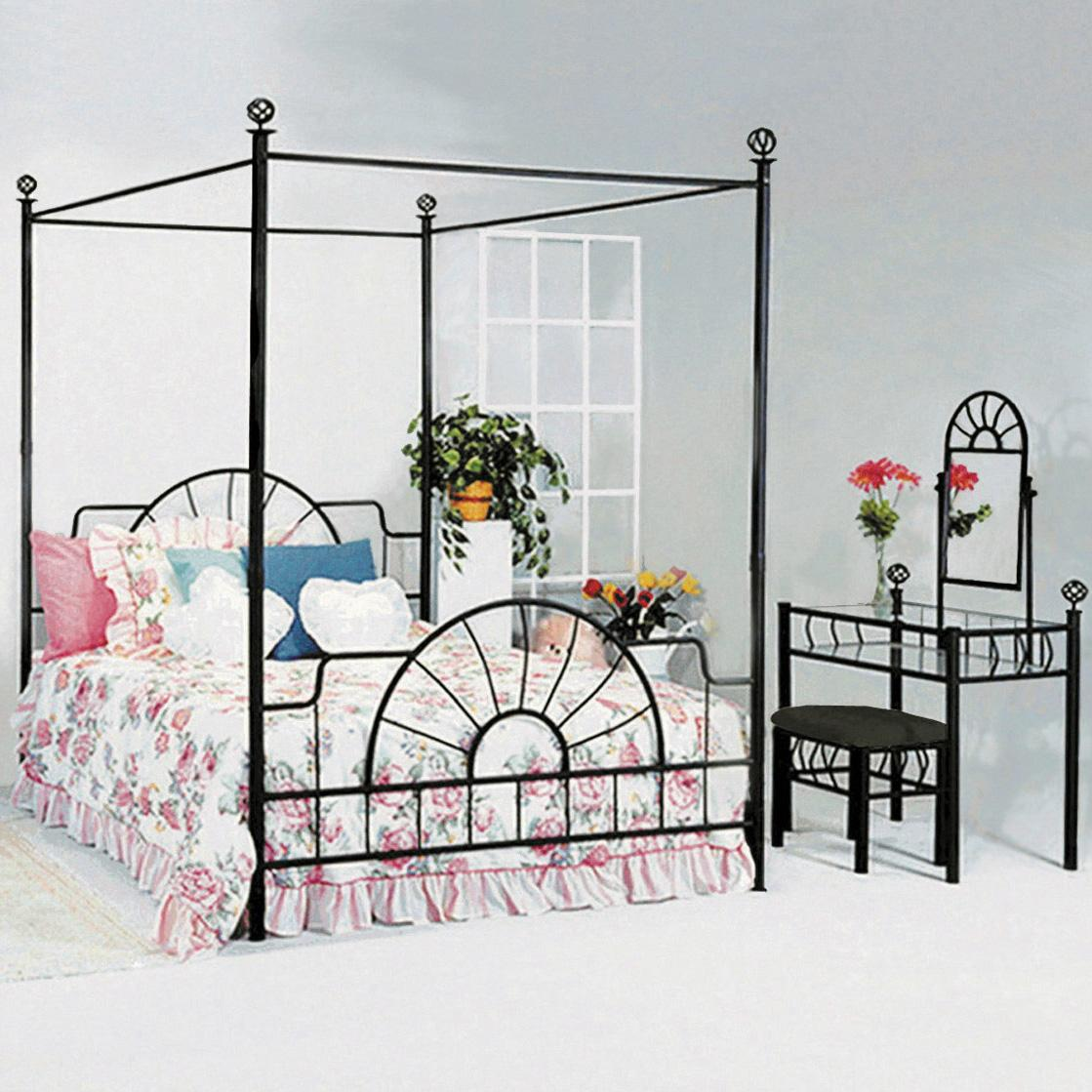 crown mark foundry queen canopy bed with metal frame and bed knobs furniture and appliance canopy bed