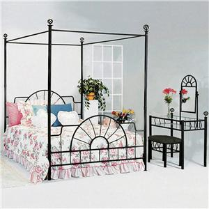 Crown Mark Foundry Full Canopy Bed with Metal Frame and Bed Knobs